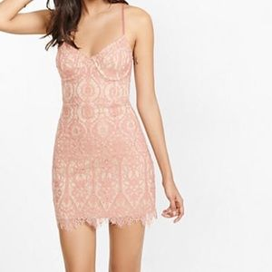 Express pink tan eyelash lace bustier dress
